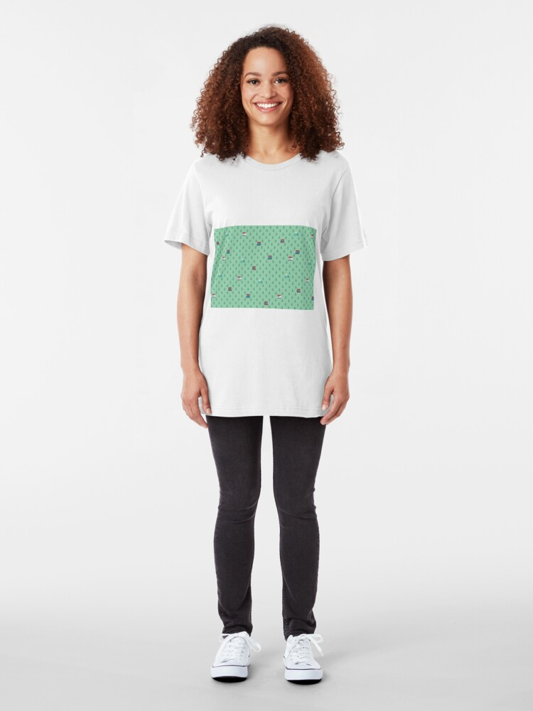 Alternate view of Animal Crossing pocket camp trees campers Slim Fit T-Shirt