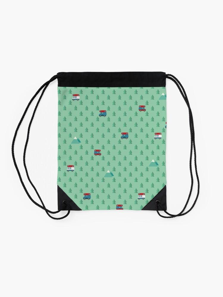 Alternate view of Animal Crossing pocket camp trees campers Drawstring Bag