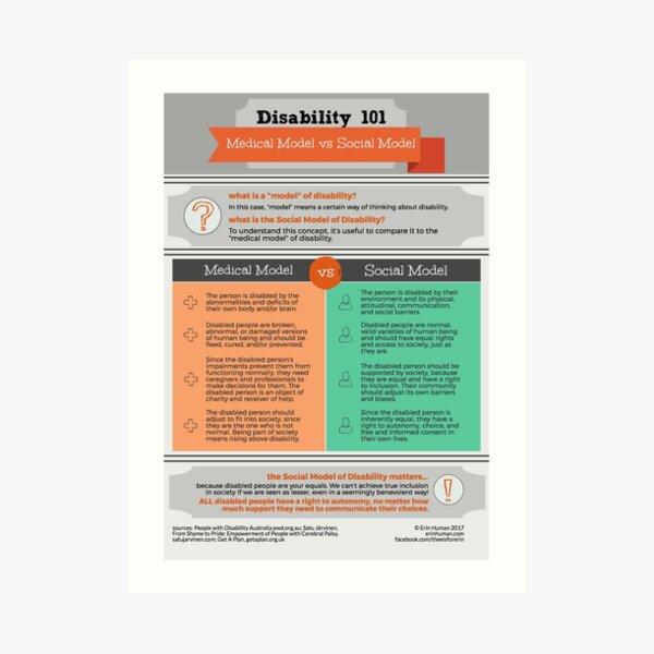 Disability 101 Medical Model vs Social Model Art Print