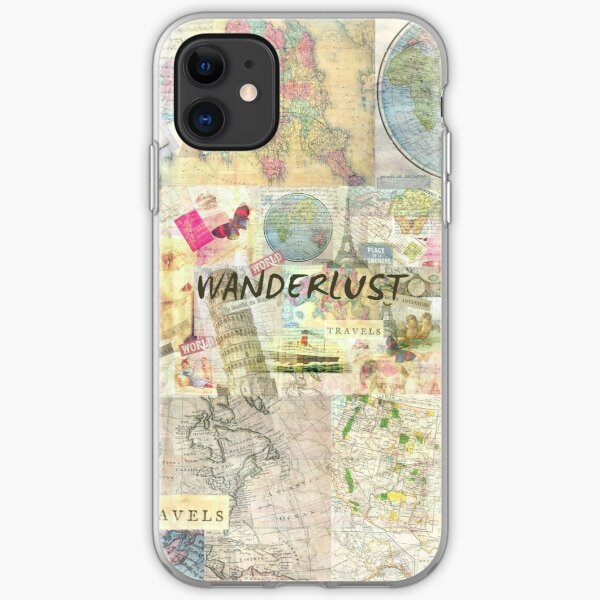 Wanderlust travel art quote iPhone Soft Case