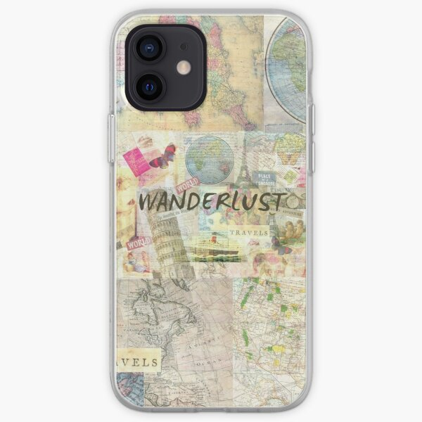 Wanderlust travel art quote iPhone Soft Case