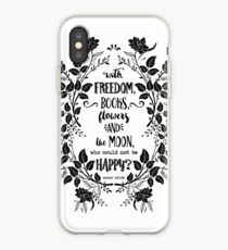 Freedom & Books & Flowers & Moon iPhone Case