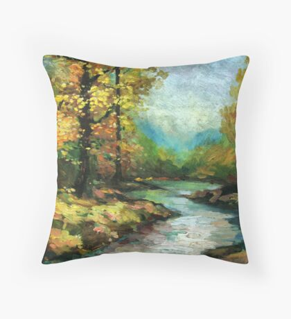 River in the golden forest Throw Pillow