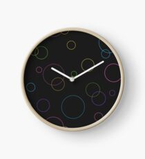 Seamless pattern texture. Geometric ornament with color full circles on black Clock