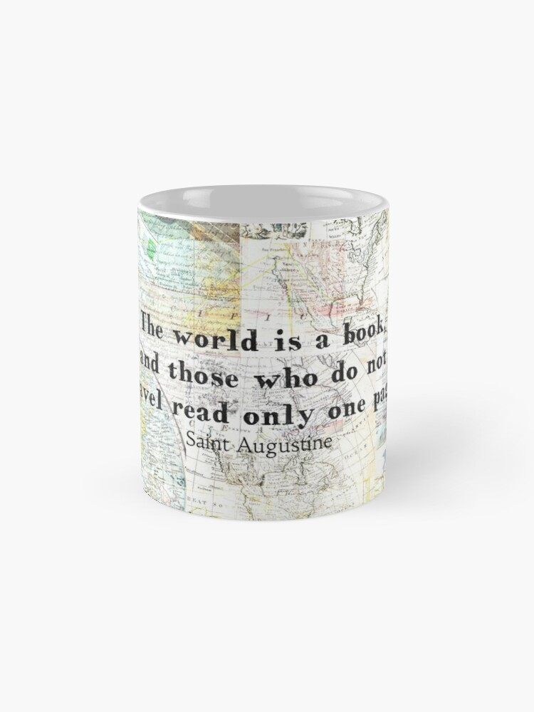 Alternate view of The world is a book TRAVEL QUOTE Mug