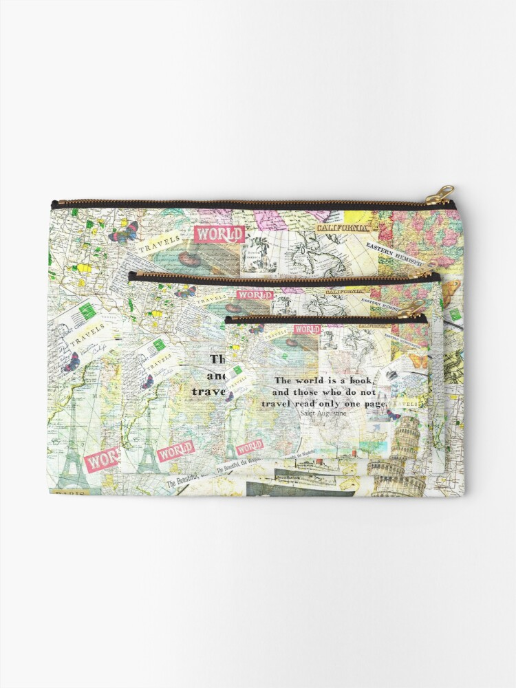 Alternate view of The world is a book TRAVEL QUOTE Zipper Pouch