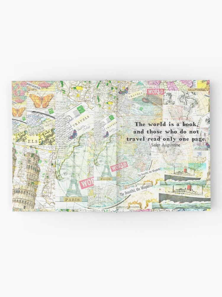 Alternate view of The world is a book TRAVEL QUOTE Hardcover Journal