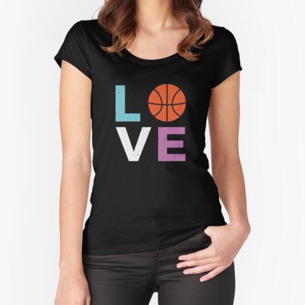 Love Basketball, Basketball Player T-Shirt for Girls Women Fitted Scoop T-Shirt