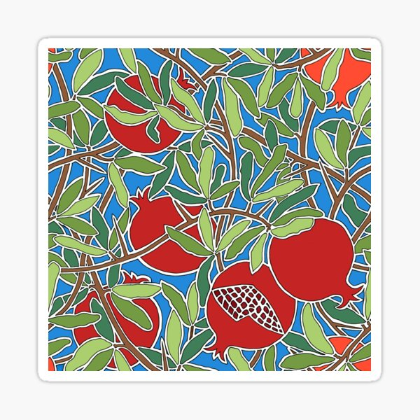 Festive Pomegranates in Red with Green Branches Sticker