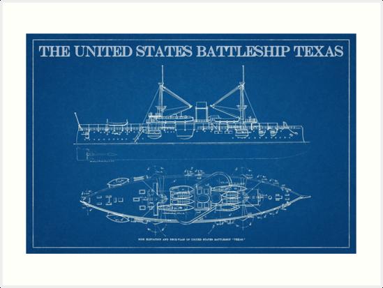 1890s us battleship texas blueprint art art prints by michael 1890s us battleship texas blueprint art by michael kessel malvernweather Images