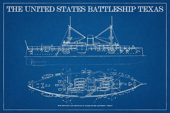 1890s us battleship texas blueprint art posters by michael kessel 1890s us battleship texas blueprint art by michael kessel malvernweather Gallery