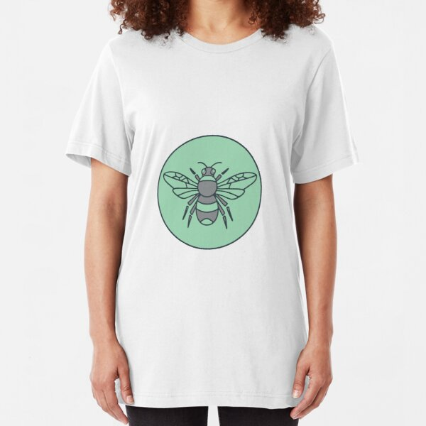 Bumble Bee Circle Mono Line  Slim Fit T-Shirt