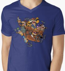 Father and His Children Men's V-Neck T-Shirt