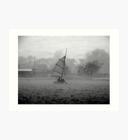 Saiing through the blizzard Art Print