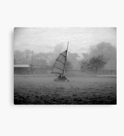 Saiing through the blizzard Canvas Print