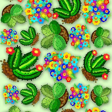 Cactuses Succulents and Flowers Colorful Doodles  by BluedarkArt
