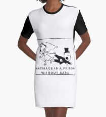 Marriage is a prision without bars, funny bride, funny engaged, wedding Graphic T-Shirt Dress