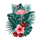 Tropical leaves of palm tree with flamingo, jungle leaf, green foliage. by Lusy Rozumna