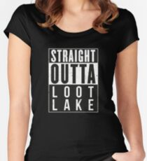 Fortnite Battle Royale - Straight Outta Loot Lake Women's Fitted Scoop T-Shirt