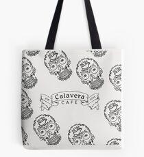 Calavera Cafe Black Skull Logo Pattern Tote Bag