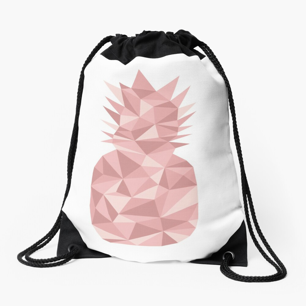 Pineapple Geometric 3 (rose) Drawstring Bag