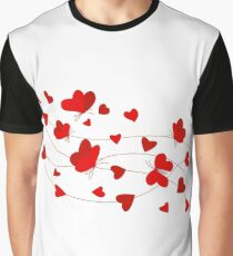 Hearts and Butterflies Graphic T-Shirt
