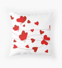 Hearts and Butterflies Throw Pillow
