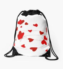 Hearts and Butterflies Drawstring Bag