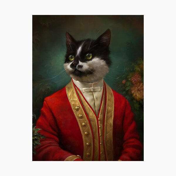 The Hermitage Court Waiter Cat Photographic Print