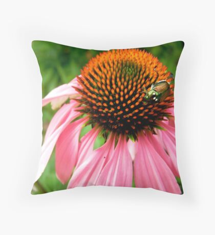 Pink flower with a visitor Throw Pillow