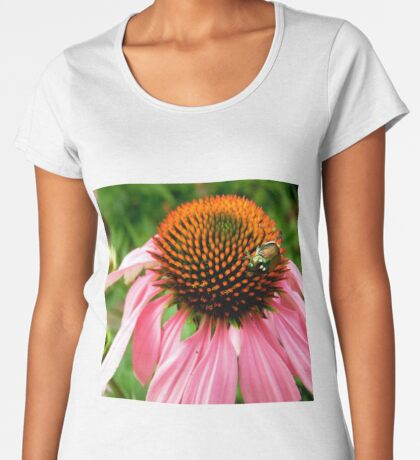 Pink flower with a visitor Women's Premium T-Shirt
