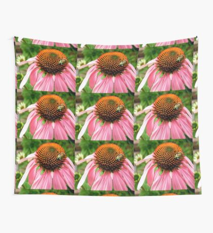 Pink flower with a visitor Wall Tapestry
