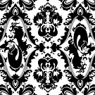 Mermaid Damask (Black and White) by rosalarian