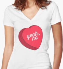 Yeah, No Women's Fitted V-Neck T-Shirt