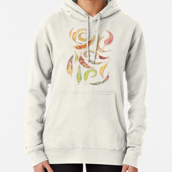 Eucalyptus leaves watercolour (white background) Pullover Hoodie