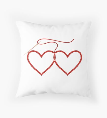 Stitched Hearts Throw Pillow