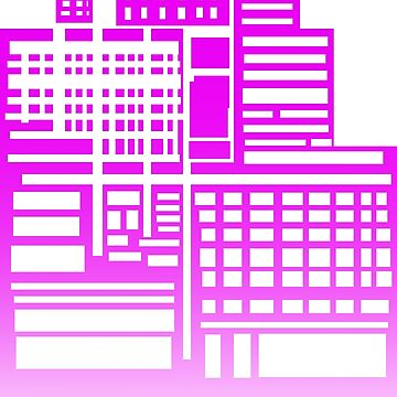 8-Bit City- Neon Pink Version by sketchbooksage
