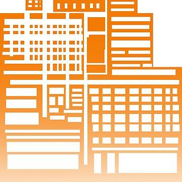 8-Bit City- Orange Version by sketchbooksage