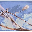 Soft Blue Winter Mountain Branches by Kelly McKee