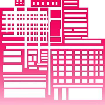 8-Bit City- Red Version by sketchbooksage