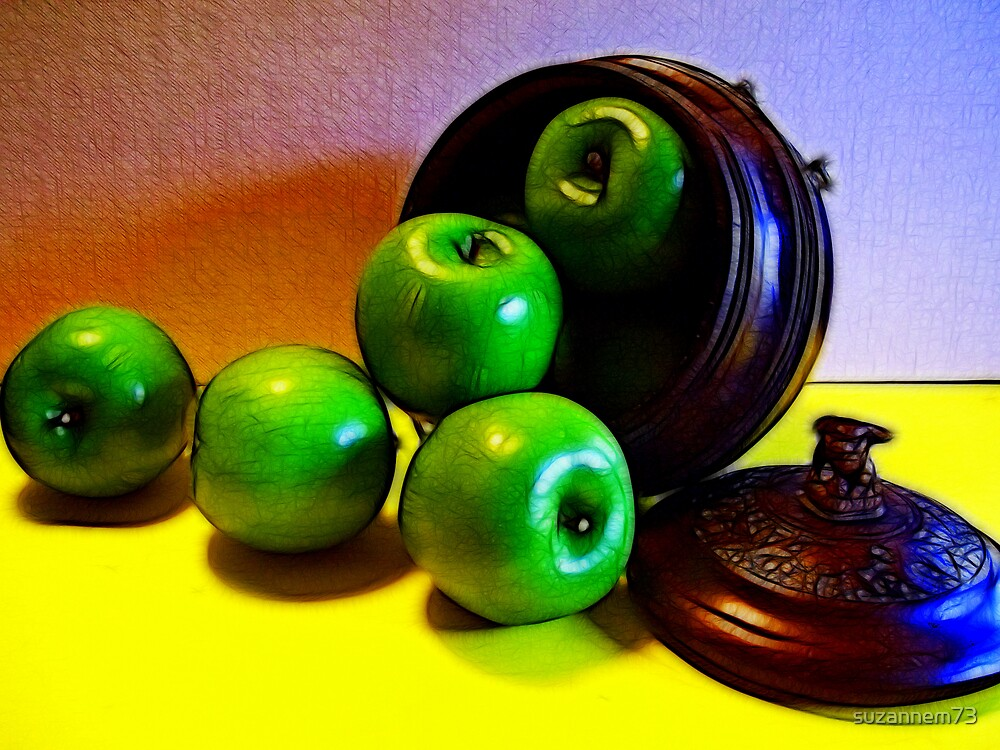 Green Apples and Chinese Wood by suzannem73