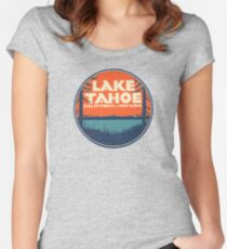 Lac Tahoe Californie Nevada Vintage State Decal T-shirt échancré
