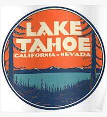 Lake Tahoe California Nevada Vintage State Travel Decal Poster