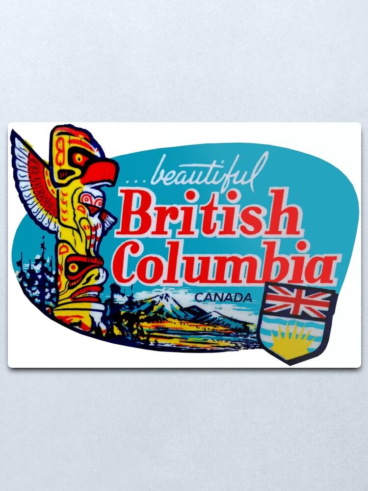 Alternate view of Beautiful British Columbia BC Vintage Travel Decal Metal Print