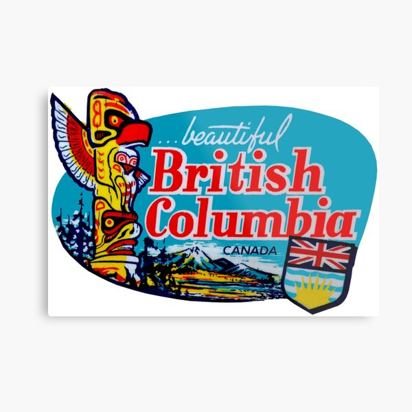 Beautiful British Columbia BC Vintage Travel Decal Metal Print
