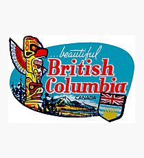 Beautiful British Columbia BC Vintage Travel Decal Photographic Print