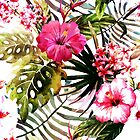 Kiss Of Pink Hibiscus With Dancing Leaves by CJ Anderson