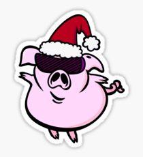 Funny Cartoon Pig Santa VRS2 Sticker