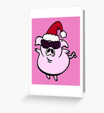 Funny Cartoon Pig Santa VRS2 Greeting Card