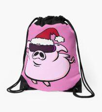 Funny Cartoon Pig Santa VRS2 Drawstring Bag